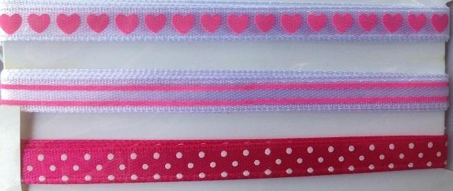 Ribbon - Hearts & Polka Dots - Pink & White