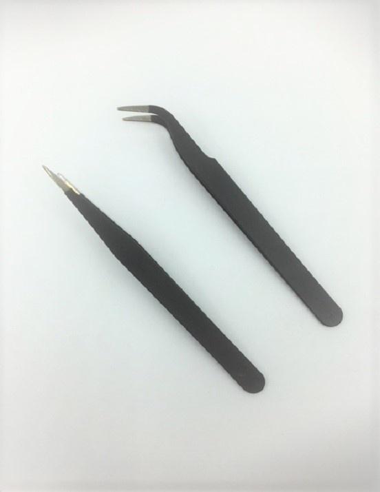 Bead Tweezers - 2 Pieces - Bent & Straight - Black