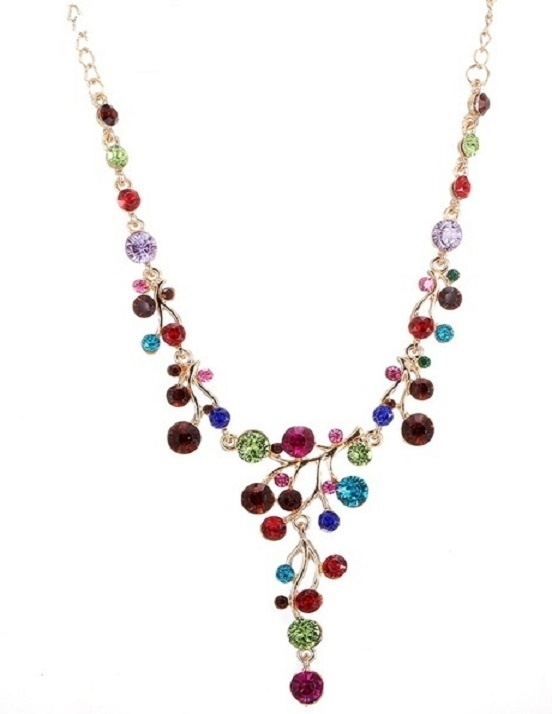 Multi Coloured Necklace with Gold Chain