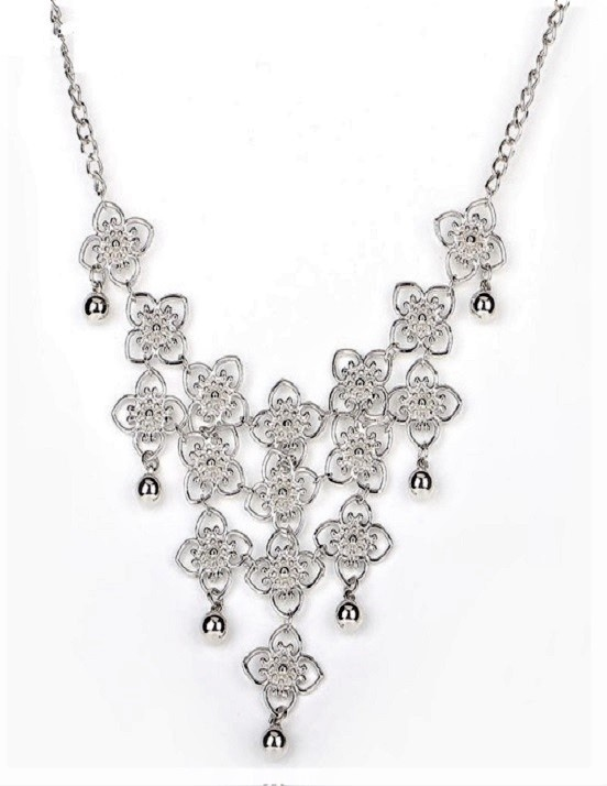 Silver Flower & Ball Chain Necklace