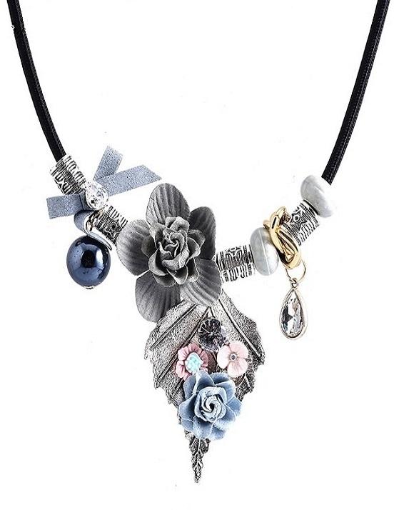 Rhinestone & Beaded Leaf Necklace