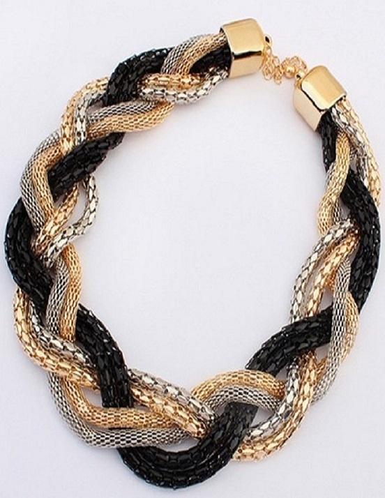 Black, Gold & Silver Weave Link Choker Necklace
