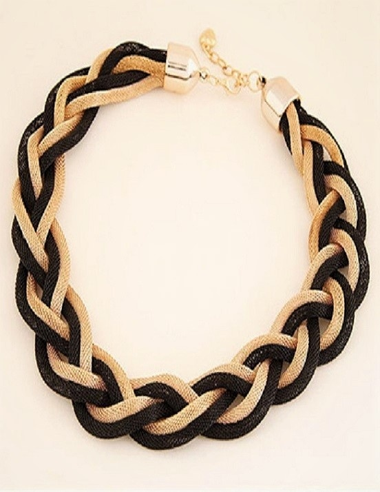 Black & Gold Weave Choker Necklace