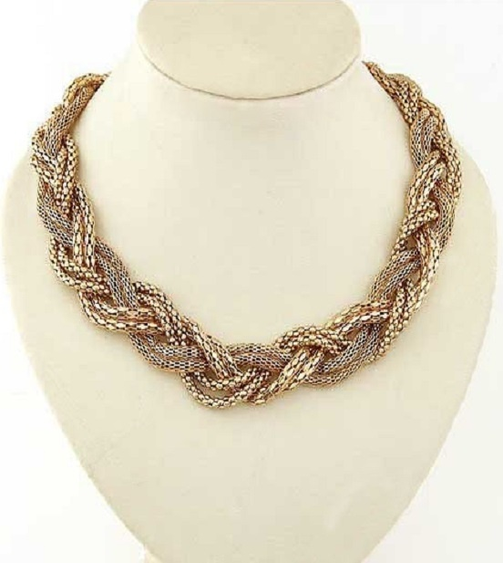 Gold Weave Link Choker Necklace