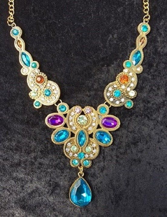 Multi Coloured Rhinestone Necklace with Gold Chain