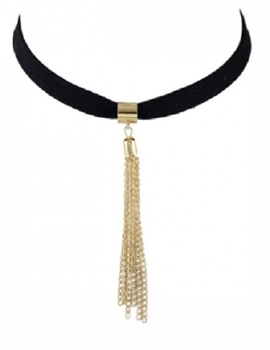 Tassel Suede Black & Gold Necklace