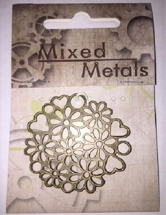 Pendant - Hearts & Flowers - Antique Bronze