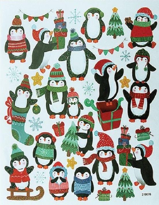 Stickers - Christmas - Glitter Penguins