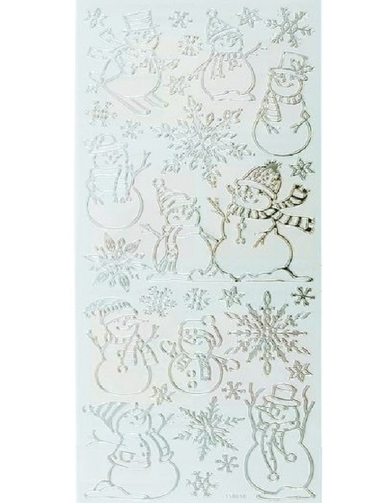Stickers - Christmas - Snowman - Silver