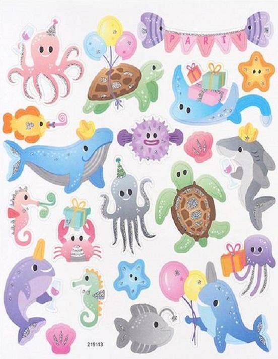 Stickers - Party - Glitter - Sea Animals