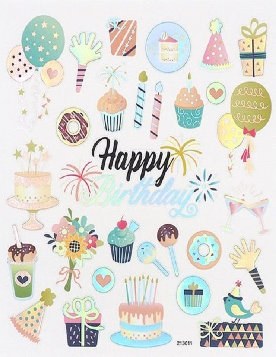 Stickers - Happy Birthday - Hats Balloons Cakes