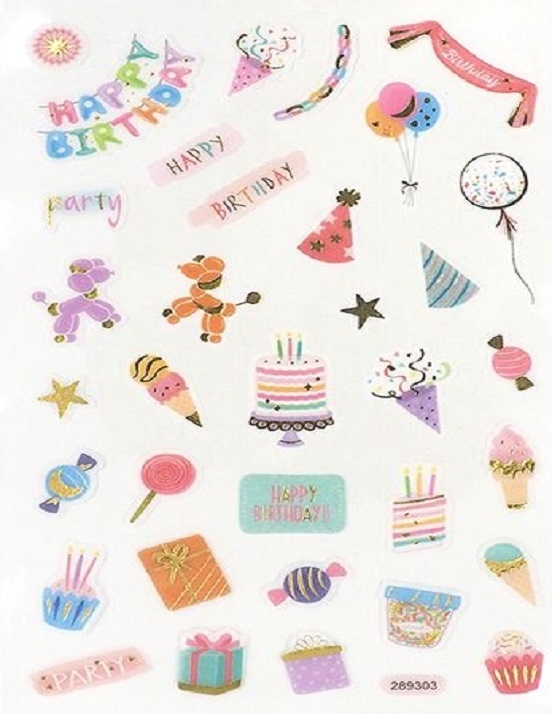 Stickers - Happy Birthday - Banners Hats Balloons Cakes