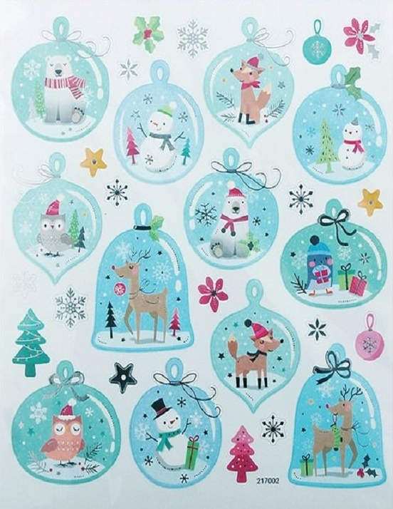 Stickers - Christmas - Snow Domes Baubles