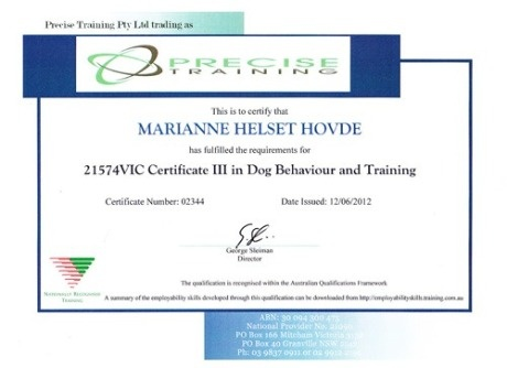 Certificate III in Dog Behaviour and Training with the National Dog Trainers' Federation