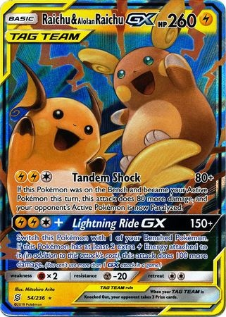 UNIFIED MINDS - Raichu and Alolan Raichu GX - 54