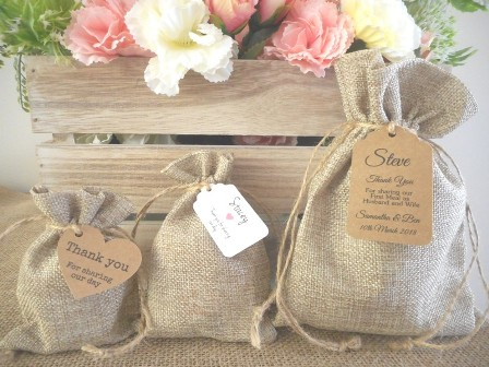 Hessian Favour Bomboniere Bags Rustic Weddings & Events Australia