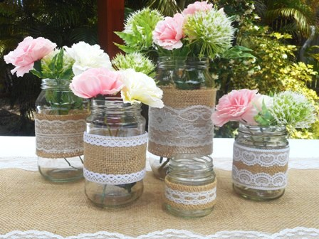 Round Glass Jars Rustic Wedding DIY Table Decorations