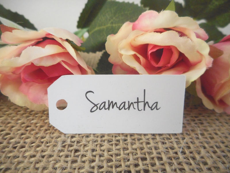 White Name Tag Mini Rectangle Personalised (4 font styles)