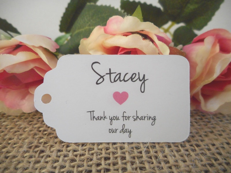 White Rustic Name Tag Small Rectangle Personalised