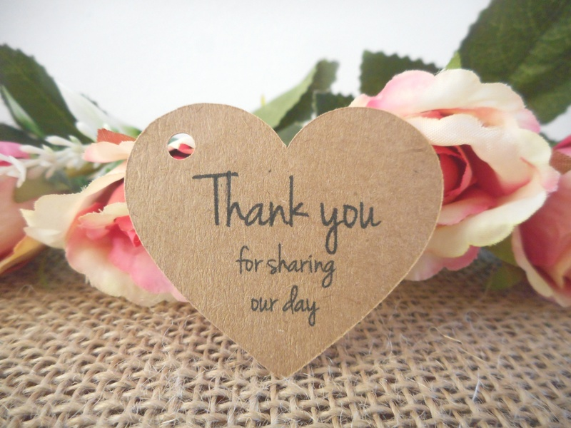 Kraft Rustic Heart Tags Thank you for sharing our day