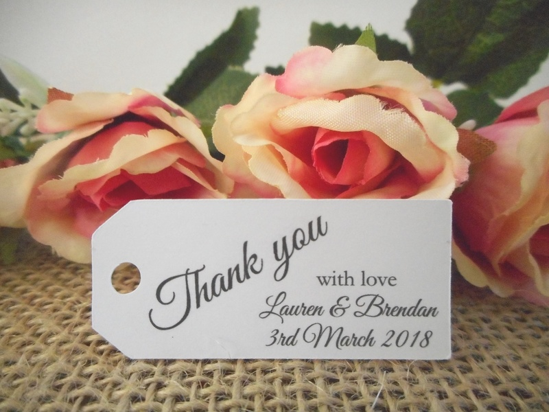 White Elegant Thank you Mini Rectangle Tags Personalised