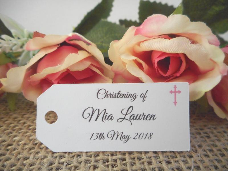 White Elegant Girl Christening Mini Rectangle Tags Personalised