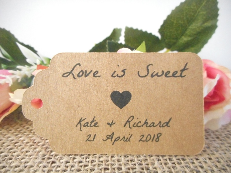 Kraft Rustic Love is Sweet Medium Rectangle Tags Personalised
