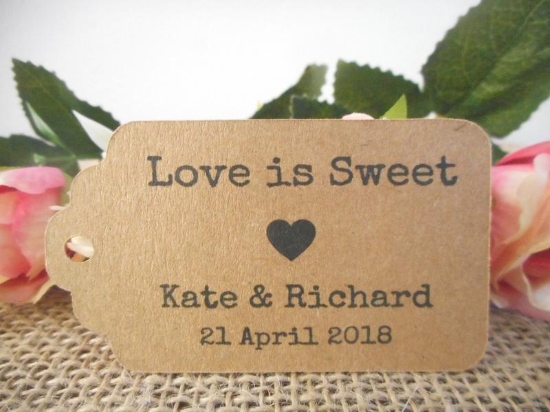 Kraft Vintage Love is Sweet Medium Rectangle Tags Personalised