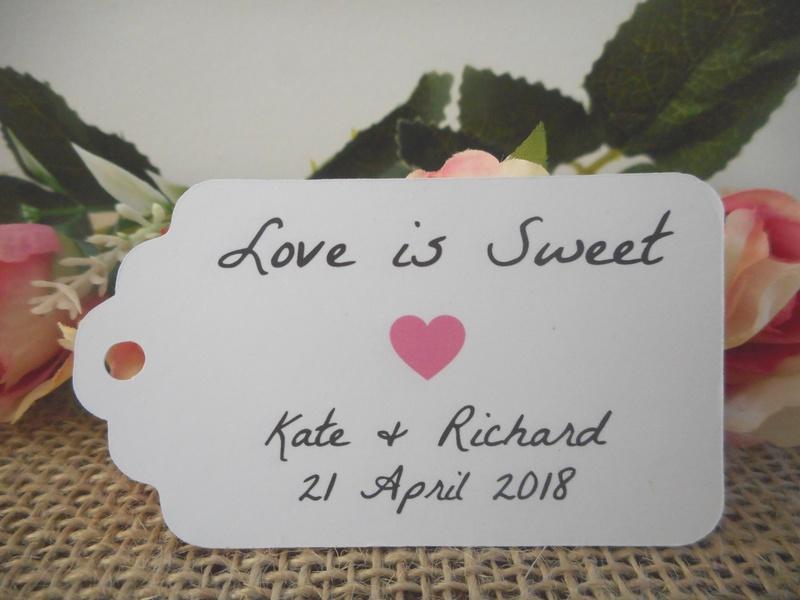 White Rustic Love is Sweet Medium Tags Personalised