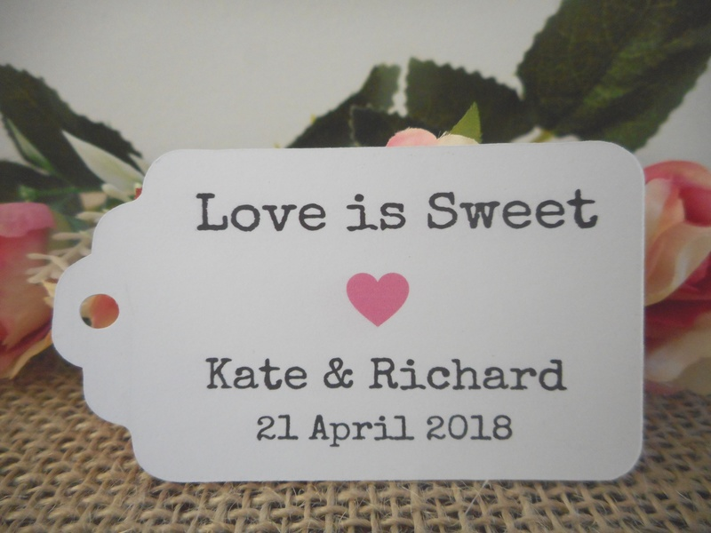 White Vintage Love is Sweet Medium Rectangle Tags Personalised