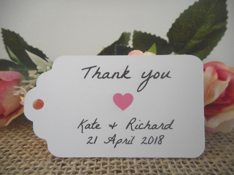 White Rustic Thank you Medium Rectangle Tags Personalised