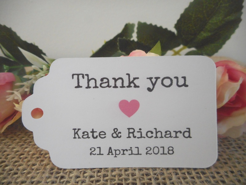 White Vintage Thank you Medium Rectangle Tags Personalised