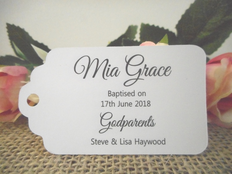 White Elegant Christening Medium Rectangle Tags Personalised