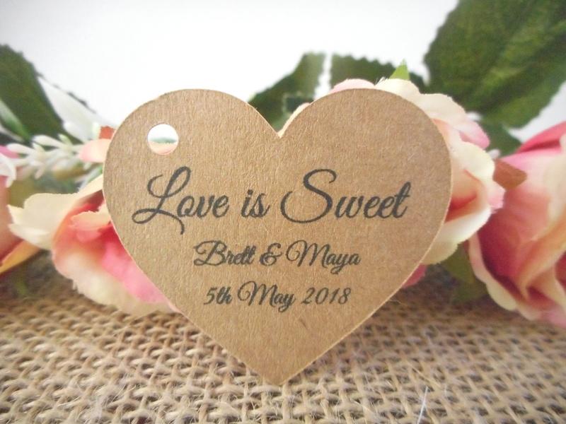 Kraft Elegant Love is Sweet Heart Tags Personalised