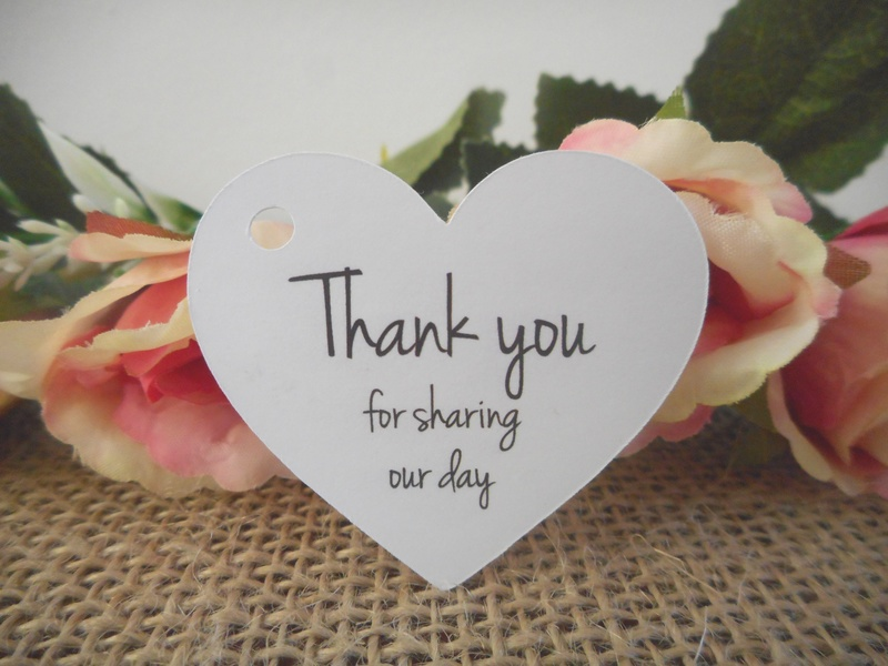 White Rustic Heart Tags Thank you for sharing our day