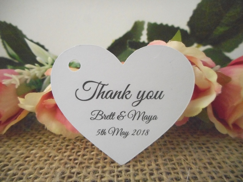 White Elegant Wedding Thank you Heart Tags Personalised