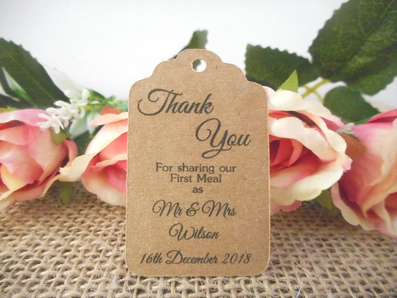 Kraft Elegant Thank You Mr & Mrs Small Rectangle Tags Personalised