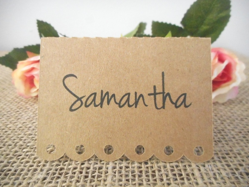 Kraft Placecards with Decorative Edge Personalised (4 font styles)