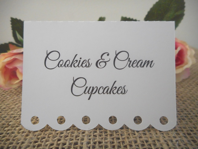 White Placecards Elegant Dessert Lolly Buffet Signs Personalised