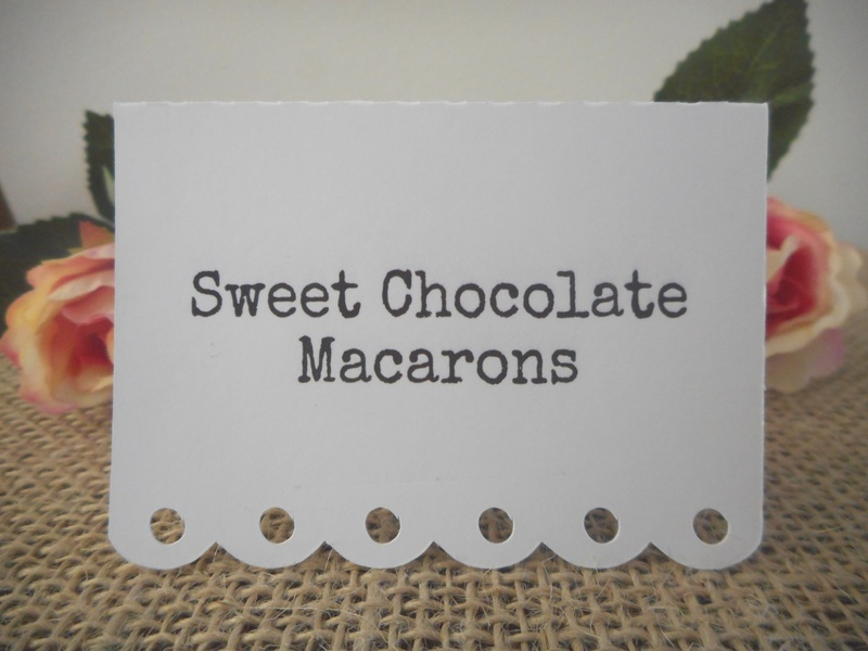 White Placecards Vintage Dessert Lolly Buffet Signs Personalised