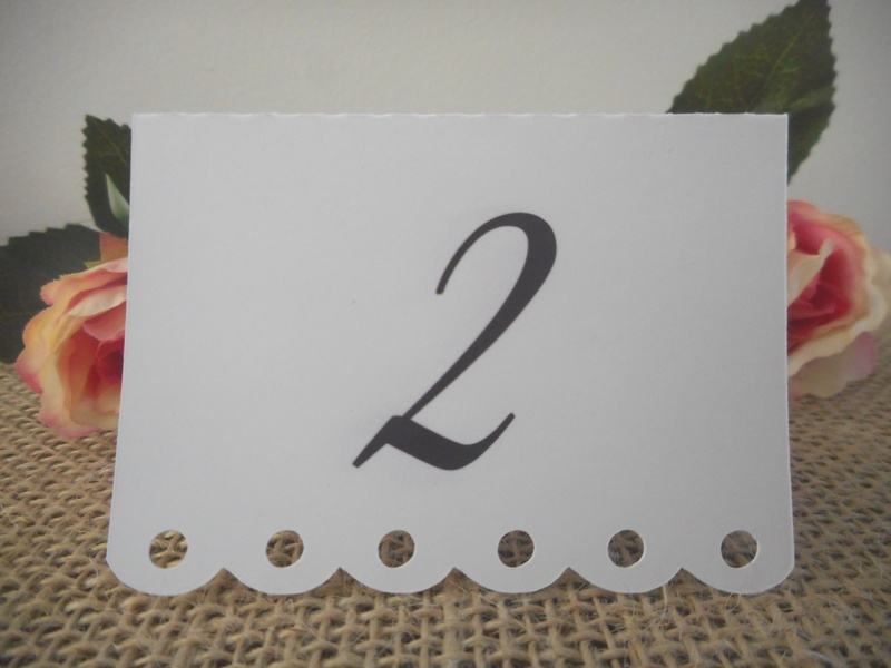 White Placecards Elegant Table Numbers