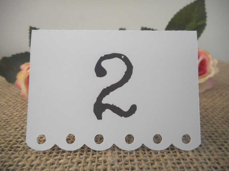 White Placecards Vintage Table Numbers