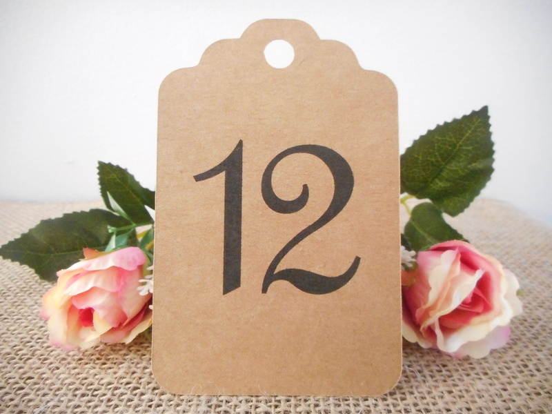 Kraft Tags Large Elegant Table Numbers