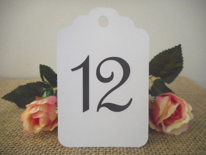 White Tags Large Elegant Table Numbers