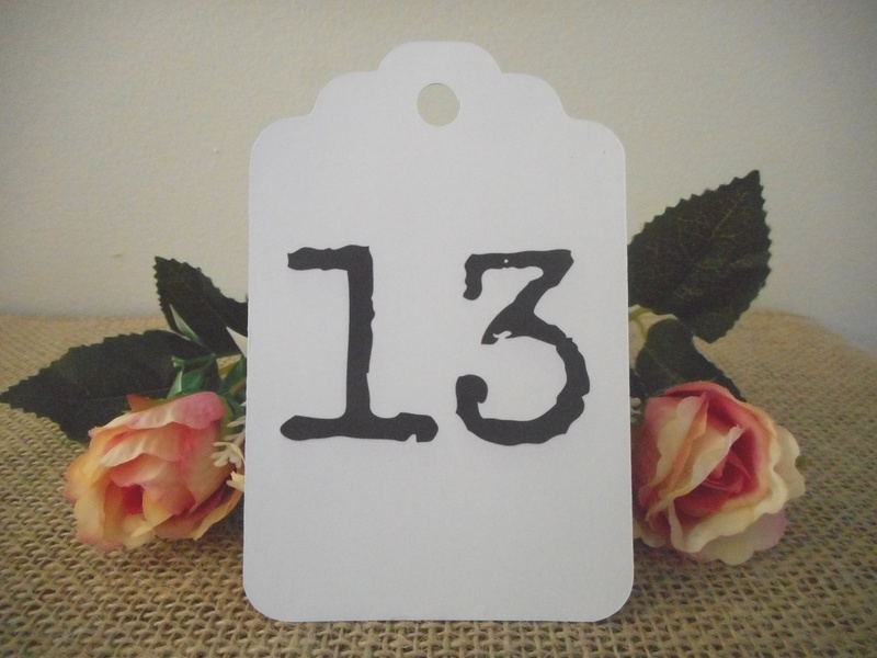 White Tags Large Vintage Table Numbers