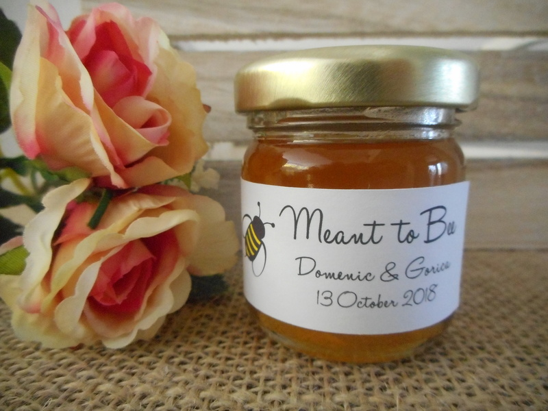 Meant to Bee Honey Jar Rectangle Labels Personalised Stickers Wedding
