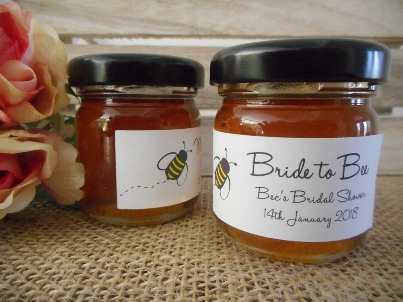 Bride to Bee Honey Jar Rectangle Labels Personalised Stickers Bridal Shower