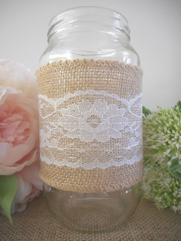 100mm x 3m Hessian Lace Centre Ribbon Rustic Vintage Wedding Decor