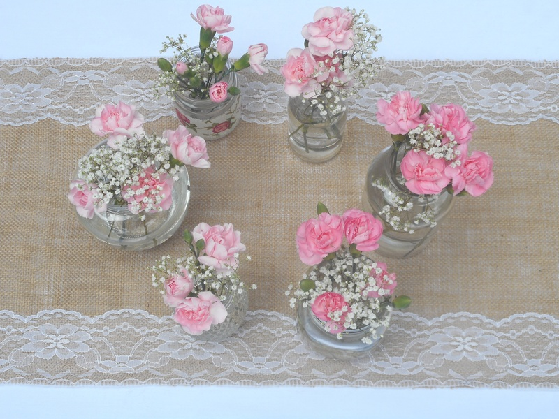 35cm x 275cm Hessian and Lace Table Runner Single