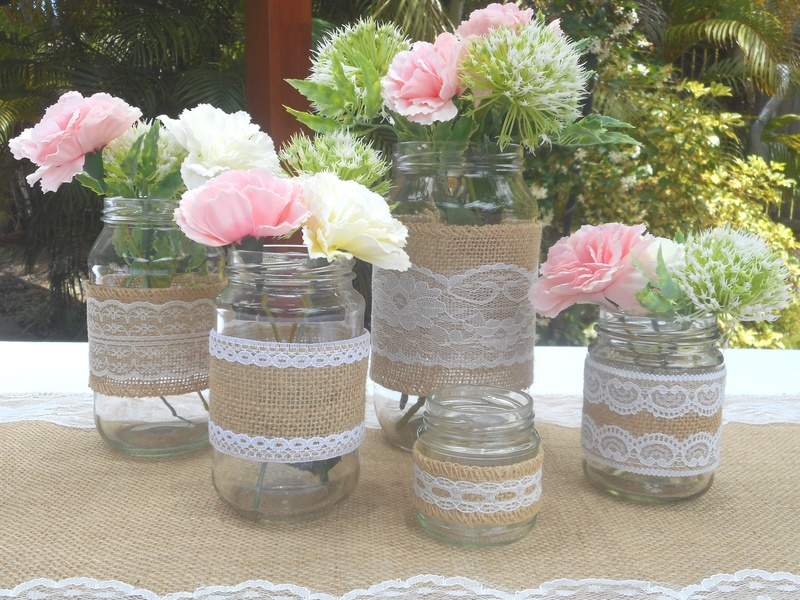 100ml to 1L Round Glass Jars Rustic Flower Vases Wedding Table Decor